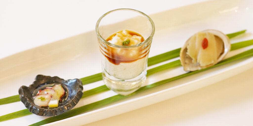 前菜3種盛 タコとレモンのマリネ 長芋と豆腐の生姜あんかけ 屋久島産とこぶしの味噌漬け